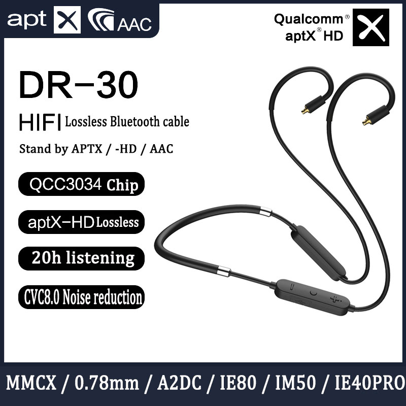 Bluetooth Upgrade <font><b>Cable</b></font> Qualcomm QCC3034 Chip AptxHD For Shure Se215 <font><b>0.78</b></font> <font><b>2pin</b></font> Ie80 A2DC IE40PRO HIFI Earphone Stand By AAC SBC image