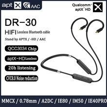 Qualcomm QCC3034 칩 용 블루투스 업그레이드 케이블 Shure mmcx SE215 용 AptxHD 0.78 2pin Ie80 A2DC IE40PRO HIFI 이어폰 ZSN PRO