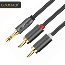 цена на Coomaer RCA Cable 2RCA to 3.5 Audio Cable RCA 3.5mm Jack RCA AUX Cable for DJ Amplifiers Subwoofer Audio Mixer Home Theater DVD