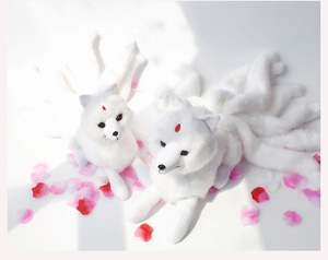 Image 2 - Super Cute Soft White Red Nine Tails Fox Plush Toy Stuffed Animals Nine Tailed Fox Kyuubi Kitsune Dolls Creative Gifts for Girls
