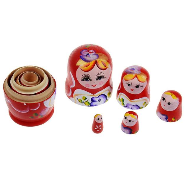 5pcs Wooden Novelty Russian Nesting Matryoshka Doll Set Hand Painted Decor Russian Nesting Dolls Baby Toy Girl Doll wholesale 5