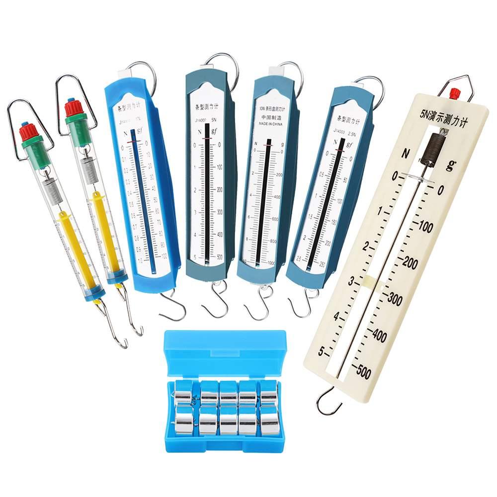 8Pcs Lab Spring Balance Hook Weight Set Force Meter Gauge Dual Scale Spring Dynamometer 1N 2.5N 5N 10N