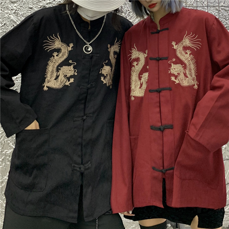 Focal20 Vintage Yokosuka Dragon Embroidery Women Coat Buckle Pocket Loose Women Coat Autumn Solid Color Lady Blouse Coat