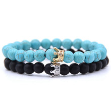 2Pcs/set Trendy Black White Stone Beads With Gold Silver Color Alloy Crown Bracelet For Women Men Couple Bangles Jewelry(China)
