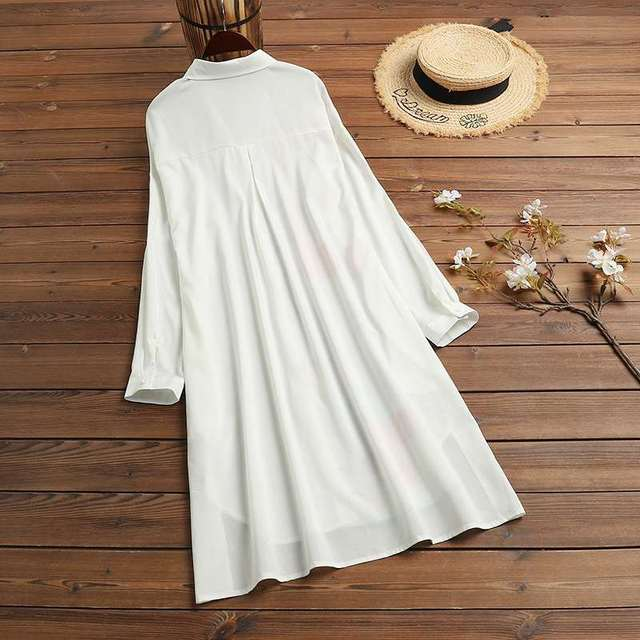 Kaftan  Sleeve Button Down Casual Tunic Plus Size 4