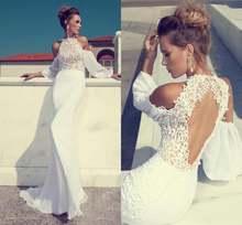 Одежда с длинным рукавом Русалка спинки свадебное платье бохо