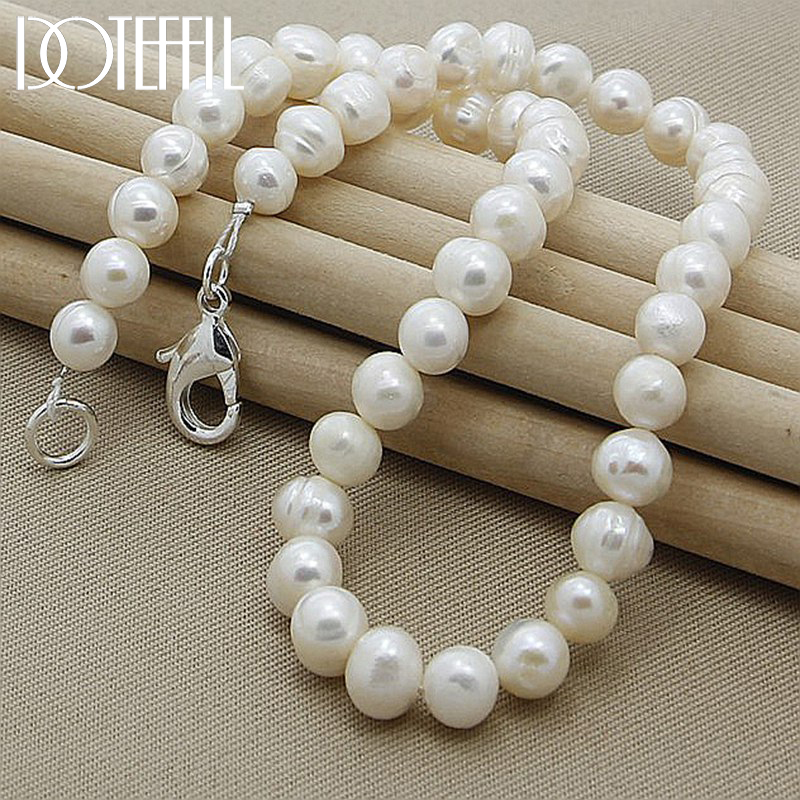 DOTEFFIL 8mm Natural Pearl White/Pink/Purple 925 Sterling Silver 16/18/20 Inch Chain Necklace Woman Engagement Wedding Jewelry