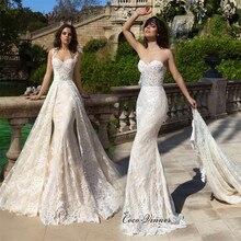 Sweetheart dekolt haft odpinane suknie ślubne 2 w 1 elegancka kość słoniowa Vestido Novia Negro Mermaid suknia ślubna W0523
