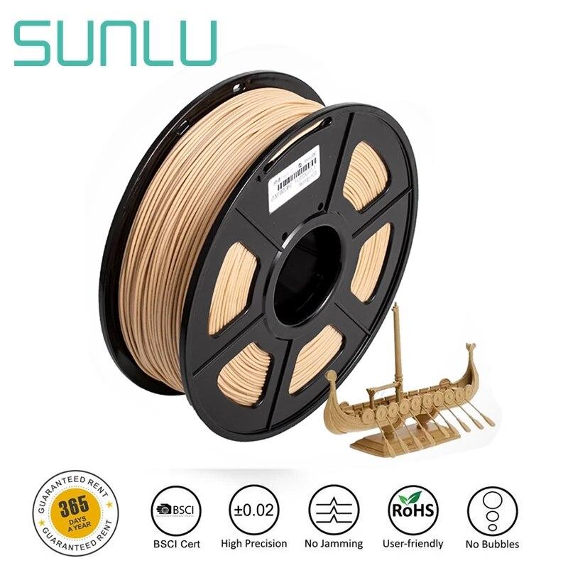 Нить для 3D-принтера SUNLU из древесного волокна, нить из пла и дерева для 3d принтера, 1,75 мм, 1 кг, волокно для дерева с 18% древесным волокном и 82% пл...