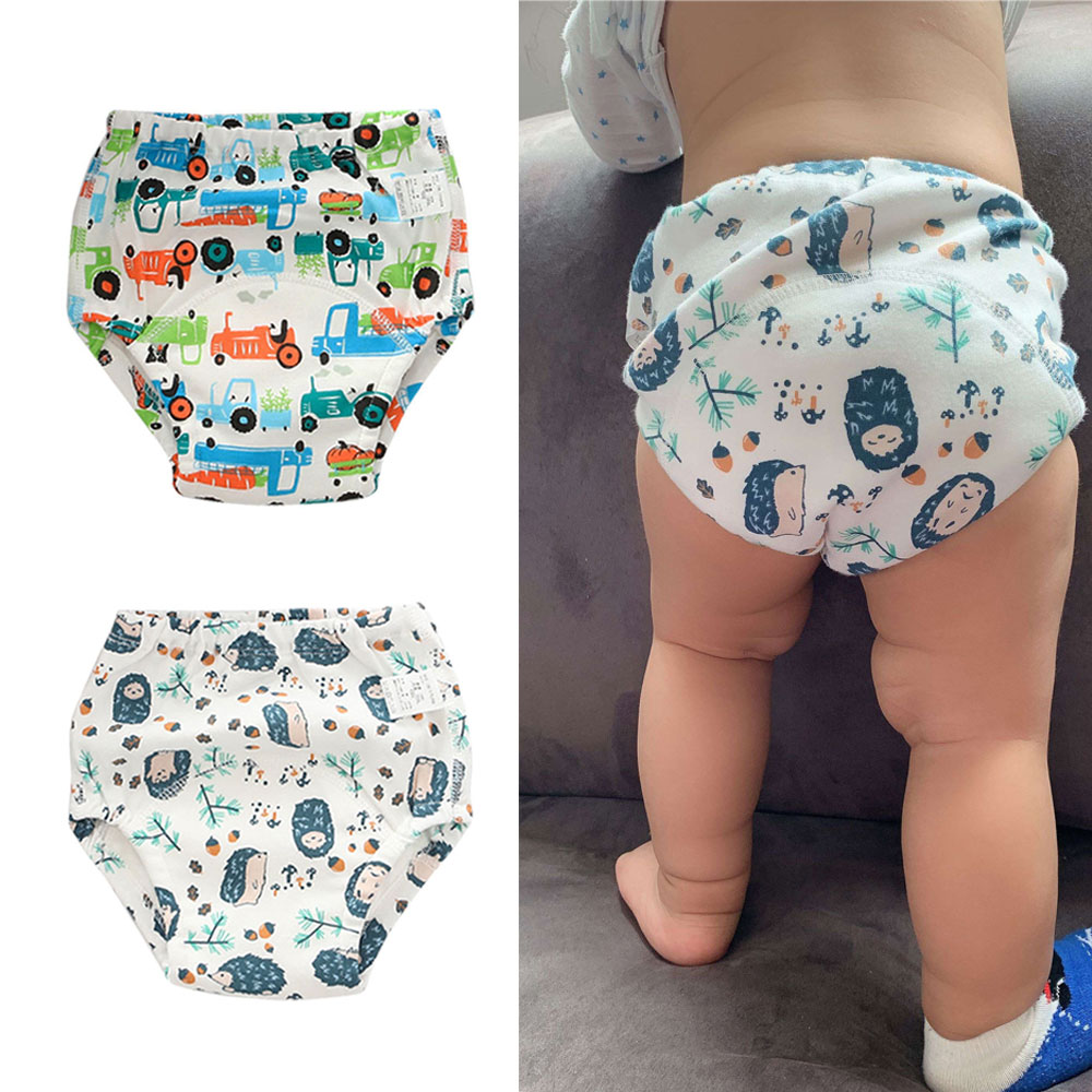 Cotton Diaper Nappy Reusable Cloth Potty Training Pants Baby Kids Girls Boys Washable Learning Panties For Toilet Trainer