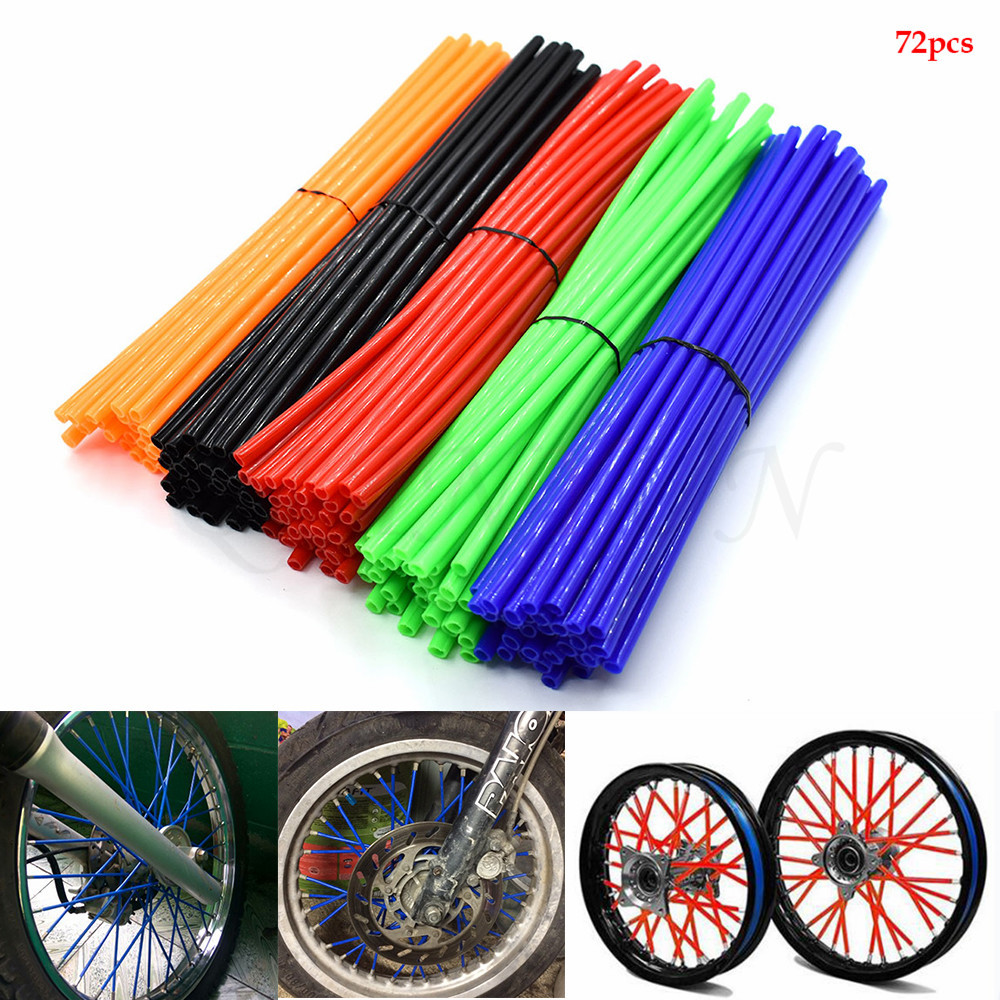 Motorcycle Spoke Skins Wheel Rim Wrap Tubes Cover For KTM HONDA KAWASAKI YAMAHA 250 300 350 400 <font><b>450</b></font> <font><b>CRF</b></font> YZ EXC CR RM Dirt Bike image