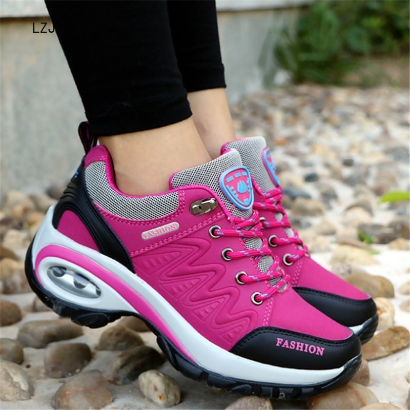 New 2019 Women Sneakers High Quality Leather Suede Air Damping Casual Shoes Non-slip Women Shoes Tenis Feminino