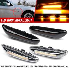 2pcs Fluindo Dinâmico LED Turn Signal Blinker Lado Marcador de Luz Da Lâmpada para BMW E46 E60 E61 E90 E91 E81 E82 E88 X3 X1 X5 E53