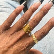 A-Z carta inicial anel de ouro cor anéis para mulher aço inoxidável antigo inglês fonte jewerly presente natal bff anillos mujer