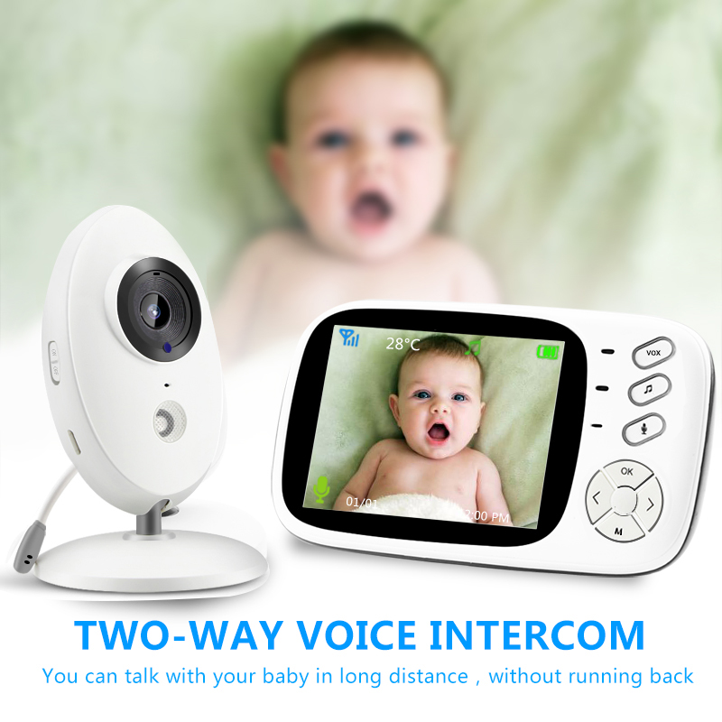 3.5 inch_Wireless_Video_Color_Baby Monitor High Resolution Baby Nanny Security Camera 2 Way Night Vision Temperature Monitoring