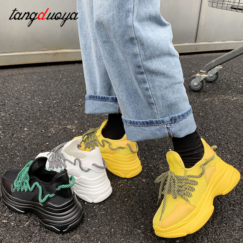 Black Chunky Sneakers Women Platform Shoes Harajuku Women Running Shoes Breathable Lightweight Sneakers Sport Trainers Yellow