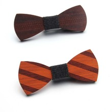 Wooden Bow Tie Handkerchief Set Men's Plaid Bowtie  Fashion Novelty Environmentally friendly ties b09