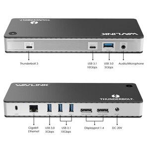 Image 3 - Wavlink Thunderbolt 3 USB C محطة إرساء المزدوج 4 k @ 60Hz عرض الفيديو 60 واط USB C تسليم الطاقة لماك بوك برو إنتل معتمد