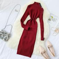 Winter Knitted Stand Collar Dresses Women 2019 Autumn New Design Zipper Long sleeved Knit Vintage Dress Long Slim A Line Frock