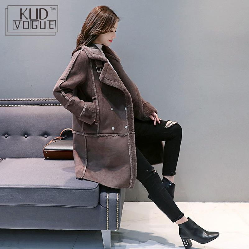 Для женщин зимнее пальто свободный мех толстый искусственный овчина длинная куртка пальто женский замшевый костюм теплая одежда