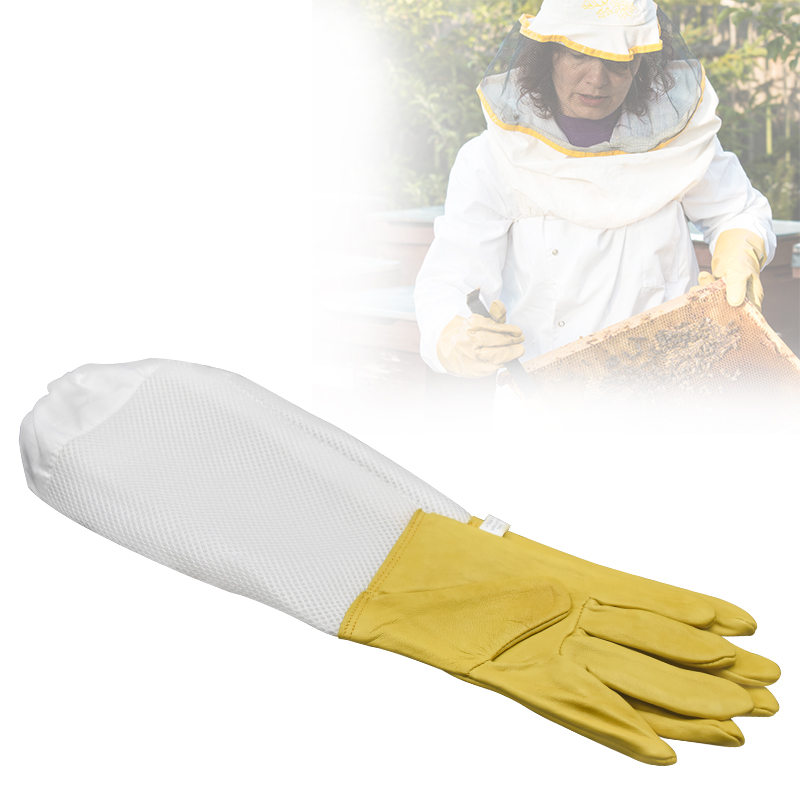 Beekeeping Gloves Protective Sleeves Breathable Yellow Mesh Yellow Sheepskin And Cloth For Apiculture Beekeeping Gloves