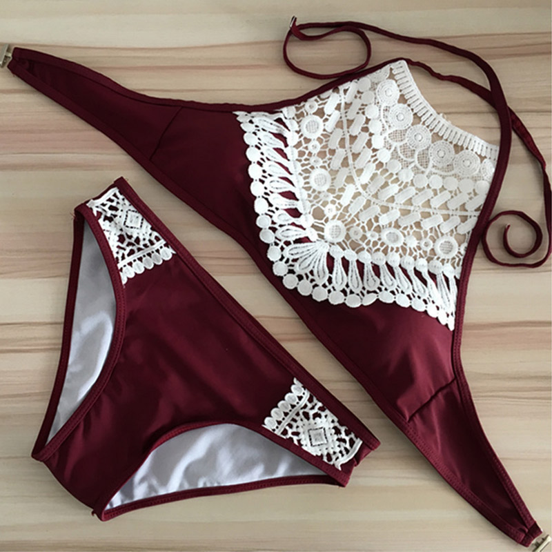 2017 Women Lace Cropped High Neck Tank Bathing Beach Wear Swim Suit Swimwear Bikini Set ENA88