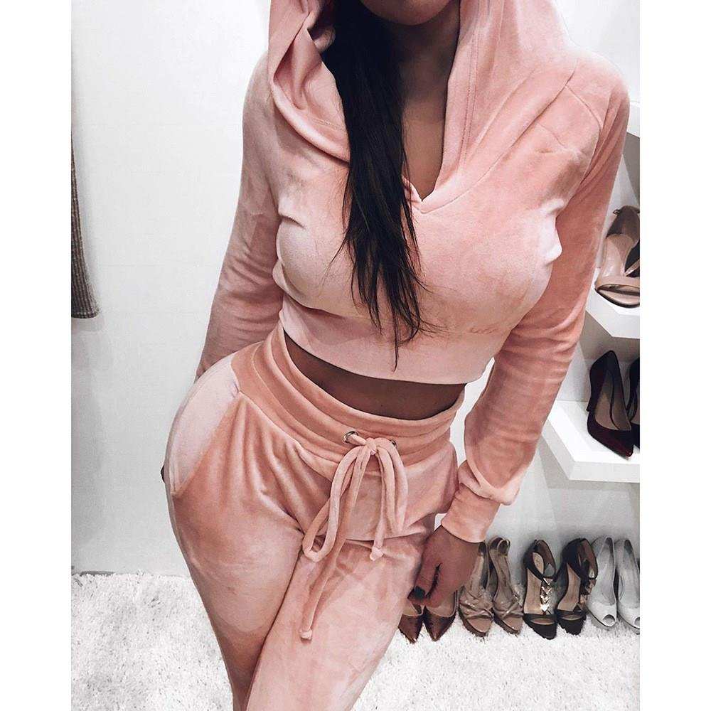 Sweatsuit Solid Velvet 2 Piece Set Women Autum Hoodies Crop Top Pants Set Hooded Velor Fashion Sportswear Tracksuit
