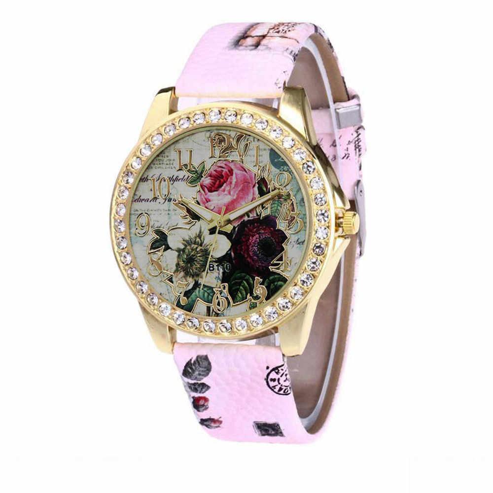 高級フレンチレトロファッションローズパターンレザーバンドアナログクォーツ流行腕時計レロジオ feminino リロイ mujer ギフト
