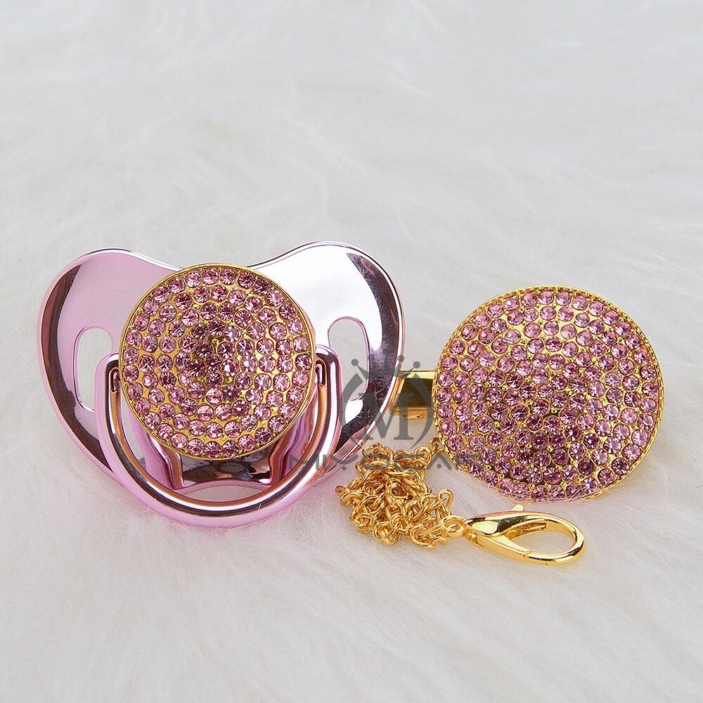 bling do ouro rosa bling do conjunto de chupeta e clipe chupeta chupeta para o bebe