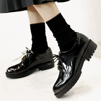 Lace Up Punk Goth Oxfords Shoes Women Patent Leather Shallow Military Riding Boots Round Toe Low Heel Platform Party Pumps Shoes