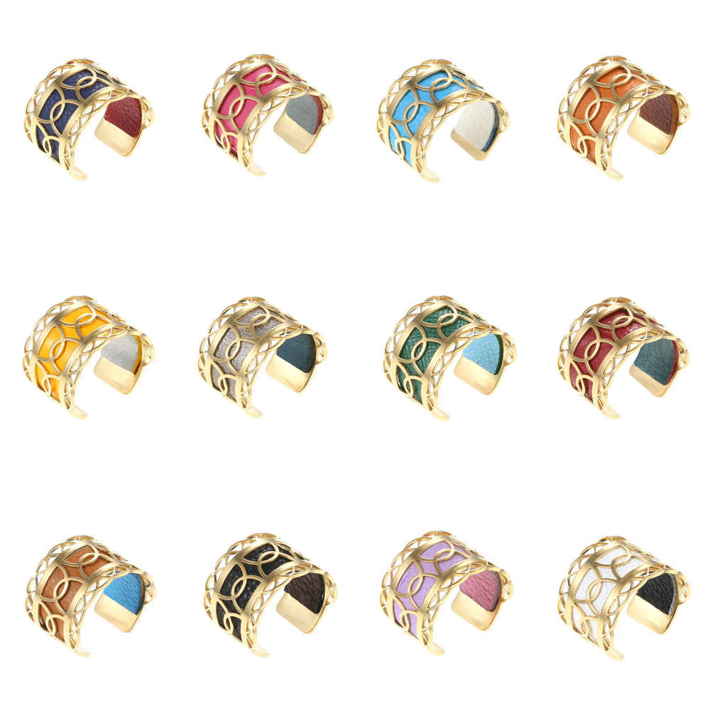 Cremo bagues pour femme Stainless Steel Ring Bijoux Colorful Leather Adjustable Ring Bague Femme Gold Reversible Leather Rings