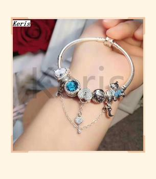 High Quality Copy 1:1 100% Silver Heart Key Bear Clutch Bracelet Free Delivery