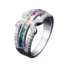 New Bride Engagement Rings For Women GIrls Fashion Crystal Rhinestones Finger Gold Silver Color Hand Jewelry Accessories