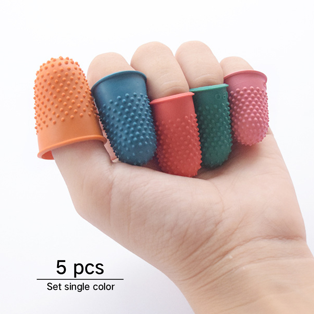 Orange Thimble 5pcs Finger Tip Counting Protector Rubber Needlework Craft Cone Sewing Quilter