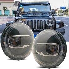 חדש רכב LED 7 אינץ עגול פנס DRL הפעל אות Halo פנסי עבור ג יפ רנגלר JK TJ CJ האמר לאדה ניבה 4X4 פנסים