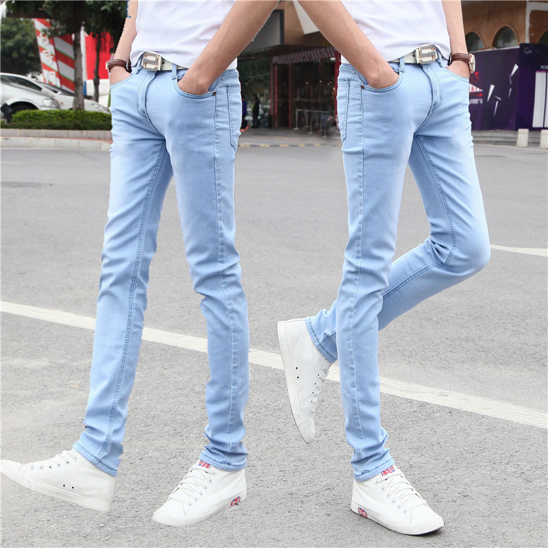 Summer Elasticity Solid Color Jeans Korean-style Slim Models Skinny Men Tight Pants BOY'S Teenager Pants Thin