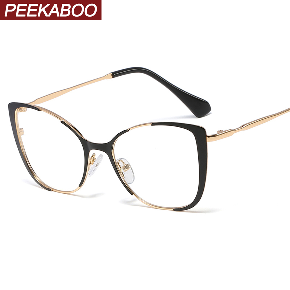 Peekaboo Retro Cat Eye Glasses Frames For Women Optical Ladies Gift Items Clear Lens Metal Eyeglass Frames Female Decoration
