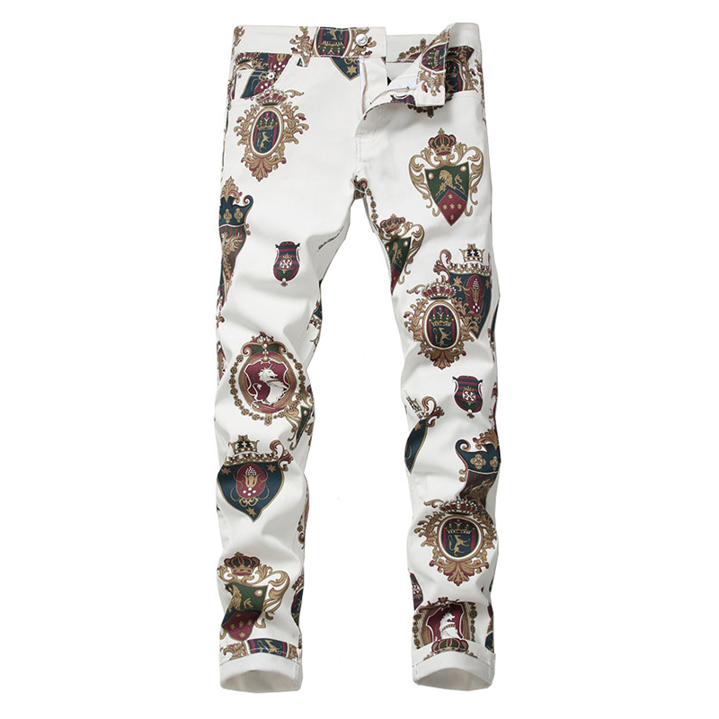 Men's badge 3D printed white jeans Fashion colored drawing slim fit stretch pants Long trousers