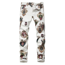 White Jeans Stretch-Pants Long-Trousers Colored Fashion Slim-Fit 3d-Printed Men's Badge