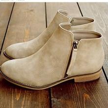 Stylish Round Toe Solid Women Ankle Boots Casual Zip Square Heel Shoes Basic Handmade Low Heel Ladies Boots цена в Москве и Питере