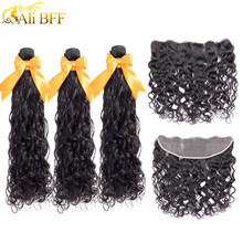 ALI BFF Hair Brazilian Water Wave Bundles With Closure Remy Hair Lace Frontal With Bundles Deal Human Hair Bundles With Frontal(China)