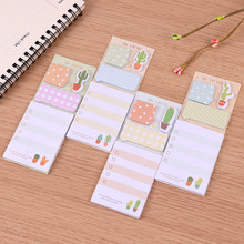 Kaktus Lucu Stiker Kawaii Self-Perekat Lengket Catatan Stationery Planner Memo Pad Lucu Papeleria Notepad 1 Pc(China)