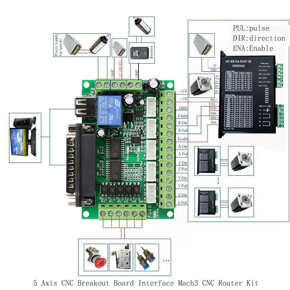 1pc 5 Axis CNC Breakout Board Interface with USB Cable For Stepper Motor Driver MACH3 CNC Board Parallel Port Control