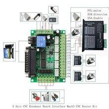 1pc 5 eixos cnc breakout placa interface com cabo usb para driver de motor deslizante mach3 cnc placa de controle de porta paralela