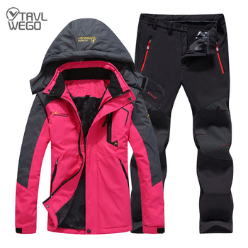 TRVLWEGO Women Winter Skiing Suit Waterproof Fishing Thermal Fleece Pant Jackets Trekking Hiking Camping Climbing Outdoor Set