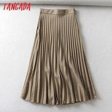 Tangada Женская клетчатая плиссированная юбка миди faldas mujer винтажные боковые молнии элегантные офисные платья шикарные юбки до середины икры 6A01