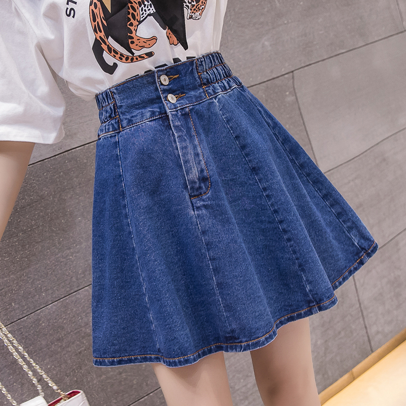 Lucyever New Summer Women Mini Denim Skirt Elastic High Waist A-line Pleated Skirt Fashion Sexy Kawaii  Preppy Girl Skirt Jeans