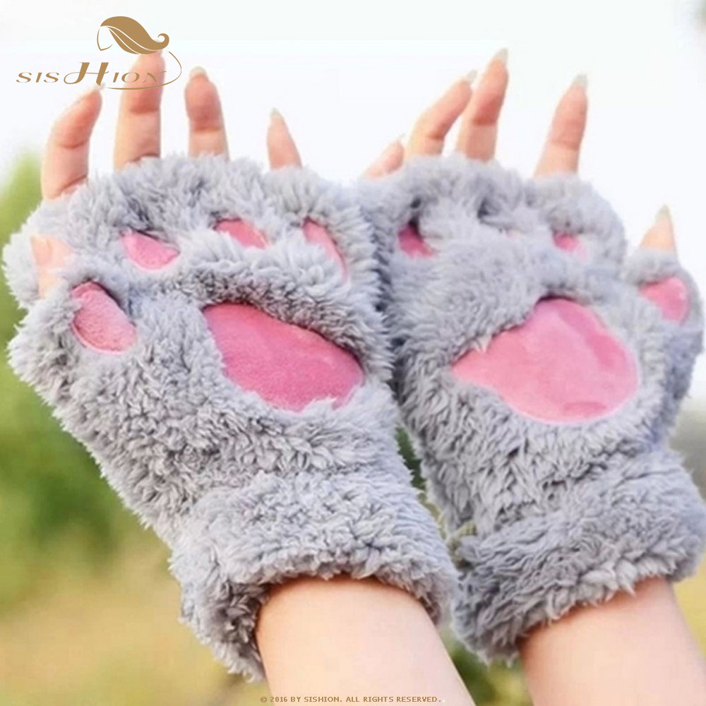 SISHION Winter Cute Cartoon Cat Girl Fingerless Cat Claw Warm Gloves Thick Fluff Bear Paw Half Finger Gloves SP0504