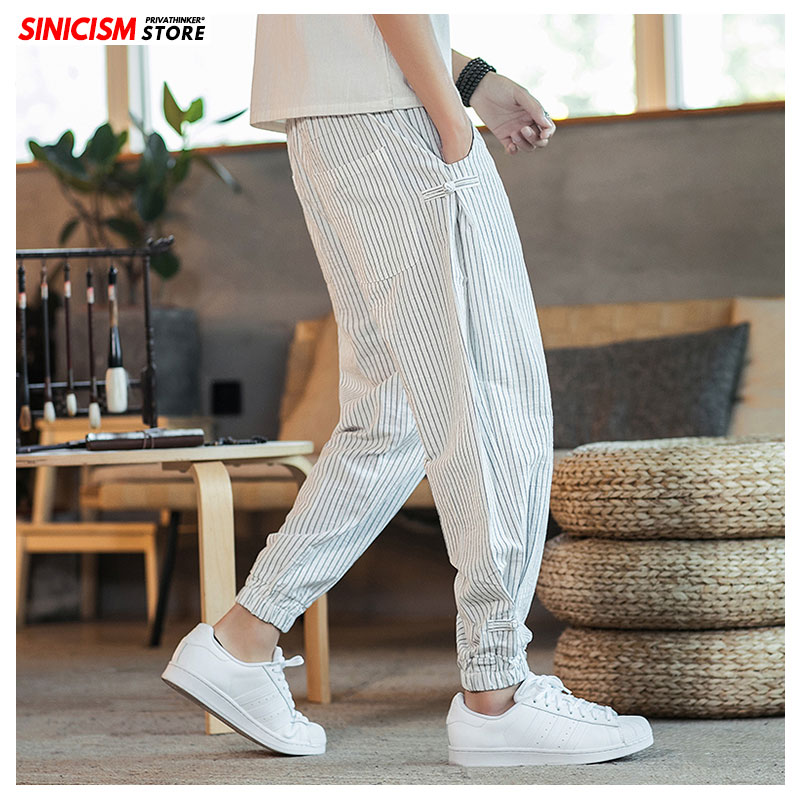 Sinicism Store Black White Striped Men Harem Pants 2020 New Fashion Man Casual Loose Pants Cotton Linen Male Trousers 5XL