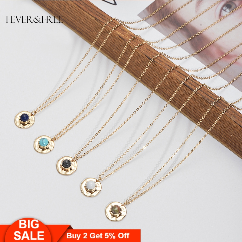 Fever&Free Women Party Inlay Stone Necklace Gold Chain Natural Pendants Necklaces For Female Fashion Jewelry Drop Shipping